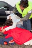 Schreien nach Autounfall Stockbild