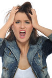 Schreiende Expressions.Young attraktive Frau Lizenzfreie Stockfotos