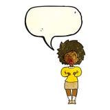schreiende Frau der Karikatur mit Spracheblase Lizenzfreie Stockfotos
