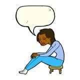 schreiende Frau der Karikatur mit Spracheblase Stockfoto
