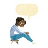 schreiende Frau der Karikatur mit Spracheblase Lizenzfreies Stockfoto