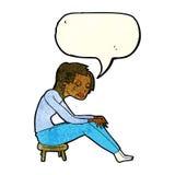 schreiende Frau der Karikatur mit Spracheblase Stockfotos