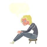 schreiende Frau der Karikatur mit Spracheblase Stockfotografie