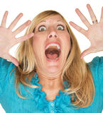 Schreiende Frau mit den Händen oben Stockfotos