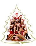 Schreiende Frauen und Weihnachtsmann Stockfoto