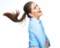 Schreiende Geschäftsfrau mit dem langen Haar der Bewegung Lizenzfreies Stockfoto