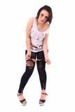Schreiende junge Frau in heftiger Kleidung Lizenzfreie Stockbilder