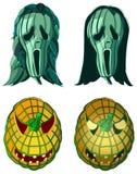 Schreiende Kürbise, Halloween-Vektorillustration Stockfotos