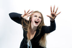 Schreiende kaukasische blonde Sehnsucht vorwärts Lizenzfreies Stockbild