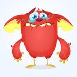 Schreiende nette Monsterkarikatur Rote entzückende kleine Monsterschleppangel, -Kobold oder -kobold, die mit Riss schreien Auch i Lizenzfreie Stockbilder