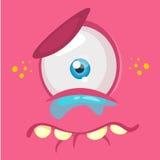 Schreiender Karikaturmonster-Gesichtsavatara Vector rosa trauriges Monster Halloweens mit einem Auge stockbilder