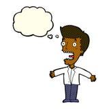 schreiender Mann der Karikatur mit Gedankenblase Stockbild