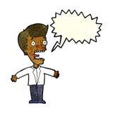 schreiender Mann der Karikatur mit Spracheblase Stockbilder