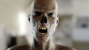 Schreiender Zombie Abschluss oben Realistische Animation des Gesichtes 4K stock video
