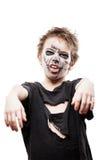 Schreiendes gehendes totes Zombiekinderjungenhalloween-Horrorkostüm Lizenzfreies Stockfoto