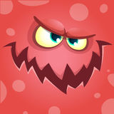 Schreiendes Monstergesicht der Karikatur Roter verärgerter Monsteravatara Vektor-Halloweens stockbild
