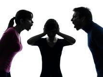 Schreiendes Schattenbild der Familienvatermuttertochter-Debatte Stockfoto
