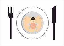Schreiendes Schwein auf der Platte Lizenzfreie Stockfotos