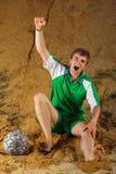 Schreiendes Ziel des Fußball- oder Fußballspielers Stockfotos