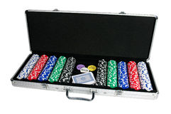 Schürhakenchips und Spielkarten Stockfotografie