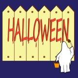 Schrieb auf dem Zaun die Aufschrift Halloween anonym lizenzfreie abbildung