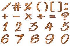 Schriftart für Zahlen und unterzeichnet herein braune Farbe Lizenzfreies Stockfoto