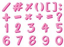 Schriftart für Zahlen und unterzeichnet herein rosa Farbe Lizenzfreies Stockbild