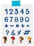 Schriftart für Zahlen und Zeichen Stockbilder