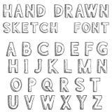 schriftkegel Alphabetbuchstaben in der schmutzigen Art des Schmutzes Hand gezeichnete Skizze stock abbildung