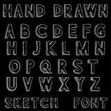 schriftkegel Alphabetbuchstaben in der schmutzigen Art des Schmutzes Hand gezeichnete Skizze auf schwarzem Hintergrund stock abbildung