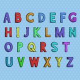 schriftkegel Farbiges Hand gezeichnetes Alphabet vektor abbildung