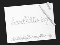 schriftkegel index Handgeschriebenes Kalligraphiealphabetschriftbild vektor abbildung