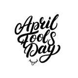 Schriftliche Beschriftung April Fools Days Hand für Grußkarte, Poster, Drucke Lizenzfreie Stockfotografie
