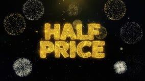Schriftliche Goldpartikel zum halben Preis, die Feuerwerk explodieren