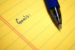 Schriftliche Ziele Lizenzfreie Stockfotos