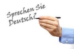 Schriftlicher Text sprechen Sie Deutsch in der deutschen Sprache Stockfotografie