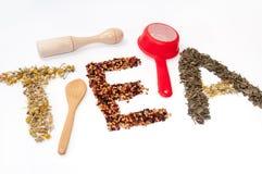 Schriftliches Teewort mit Kamille, Kräutern des Hunderosafarbenen und grünen Tees Stockfotos