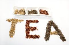 Schriftliches Teewort mit Kamille, Kräutern des Hunderosafarbenen und grünen Tees Stockfoto