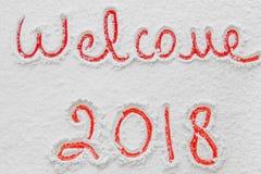 Schriftliches ` Willkommen ` 2018 auf dem Schnee Lizenzfreie Stockbilder