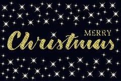 Schriftliches Zitat der frohen Weihnachten mit einigen Scheinsternen Funkelnbeschaffenheit stock abbildung
