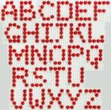 Schrifttyp gebildet vom roten Mosaik Lizenzfreie Stockfotografie