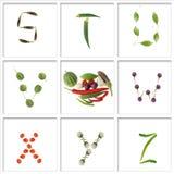 Schrifttypen vom Gemüse Stockbild