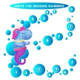 Schrijf de ontbrekende aantaleenhoorn seahorse Het Thema van Meerminnen vectorillustratie vector illustratie