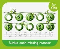 Schrijf elk ontbrekend aantalaantekenvel vector illustratie