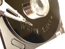 Schrijf Fout die op Harde aandrijvingsoppervlakte wordt gekrast Stock Foto