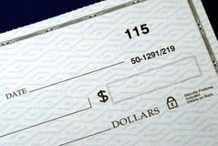 Schrijf het dollarbedrag op de controle Stock Afbeelding