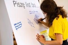 Schrijf voor Rechten, grootste rechten van de mensgebeurtenis van Amnesty International stock foto's