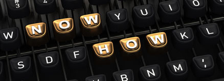 Schrijfmachine met NOW HOE knopen Royalty-vrije Stock Foto's