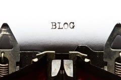Schrijfmachine met tekst blog Stock Foto