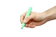 Schrijft de mannetje geïsoleerde hand met teller iets Royalty-vrije Stock Fotografie